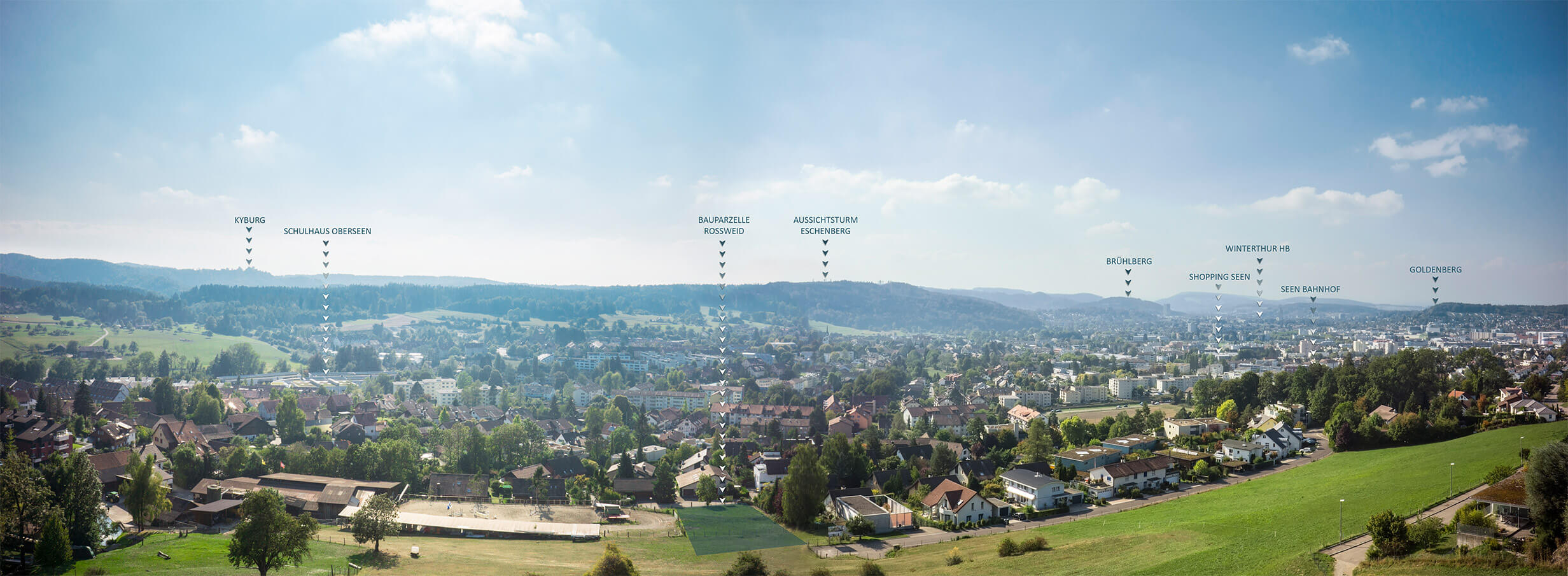 Drohne Luftaufnahmen Winterthur Rossweid Panorama