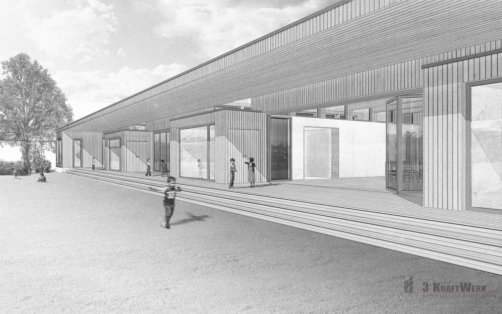 Wettbewerb kindergarten blattacker heerbrugg 3d for Architektur grafik