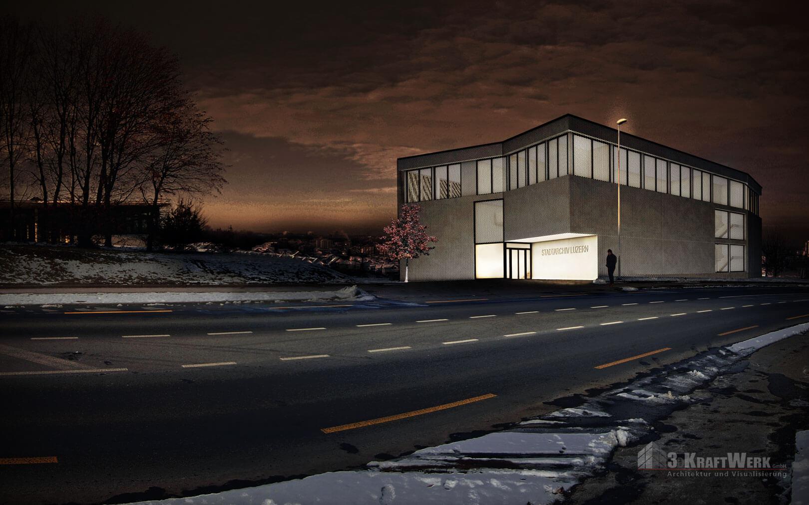 3DKRAFTWERK visualisierung architektur stadtarchiv Luzern nachtbild